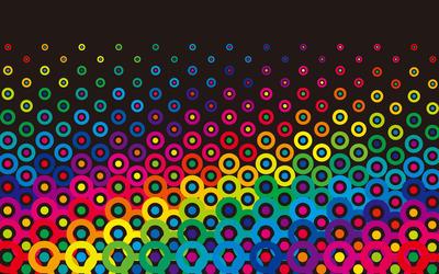 Colorful retro circles wallpaper