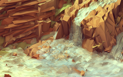 Cubical waterfall wallpaper