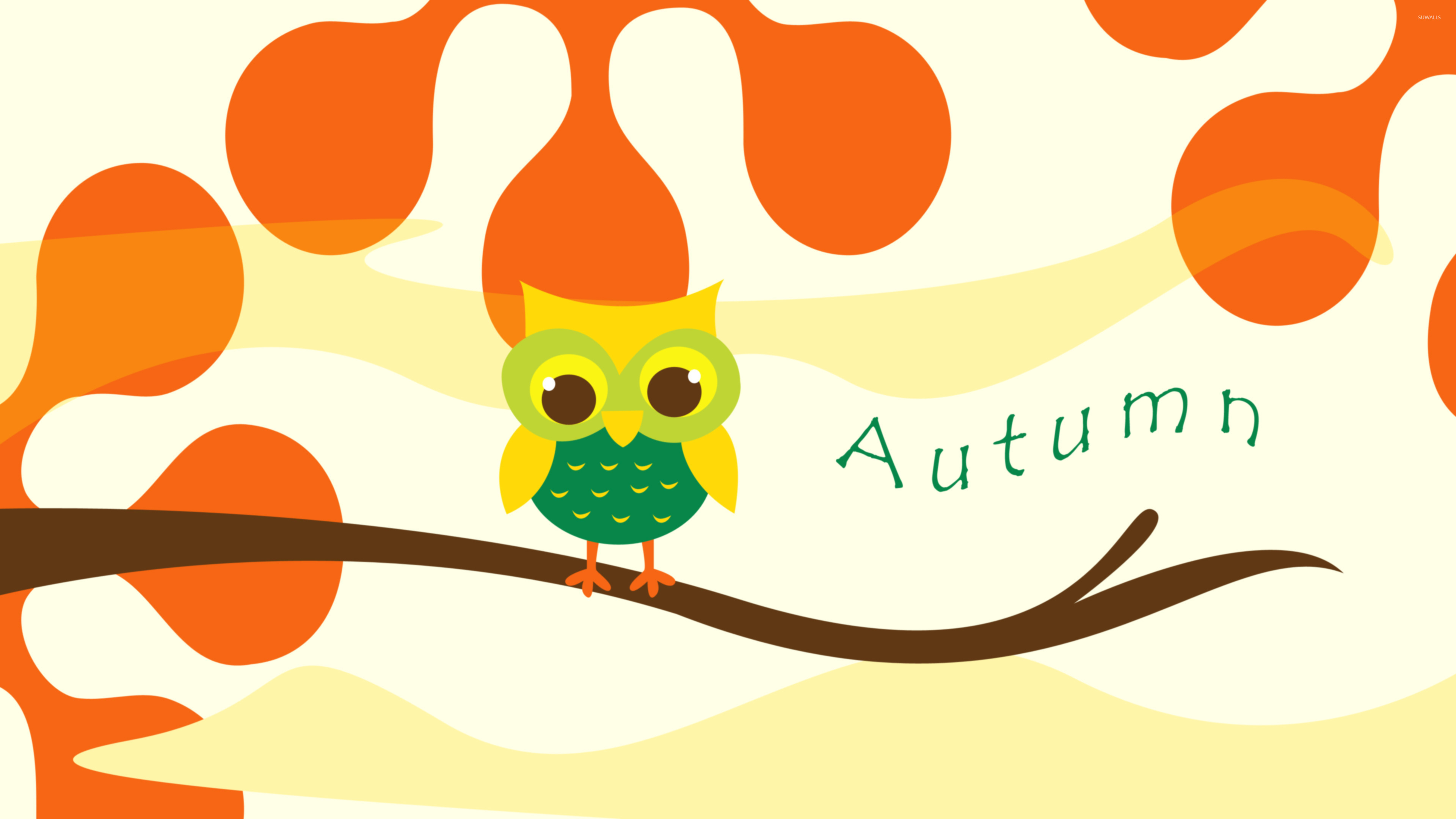 Cute Owl On A Branch Wallpaper Vector Wallpapers 48692