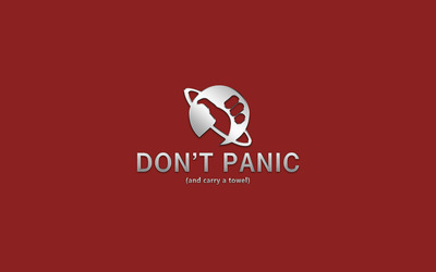Don't panic and carry a towel wallpaper