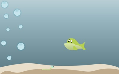 Fish hunting a worm wallpaper