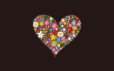 Floral heart wallpaper