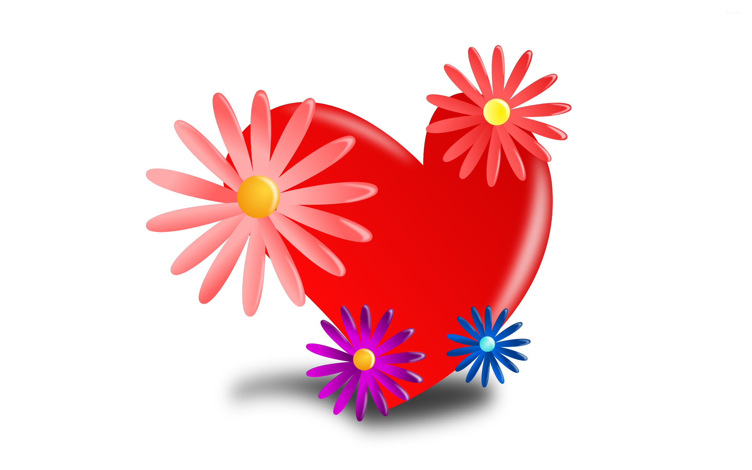 Flowers and hearts wallpaper Vector wallpapers