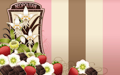 Flowers, chocolate and strawberries wallpaper