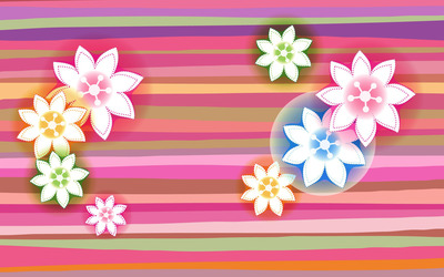 Flowers on colorful stripes wallpaper