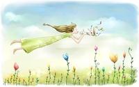 Girl flying through the flowers wallpaper 1920x1200 jpg