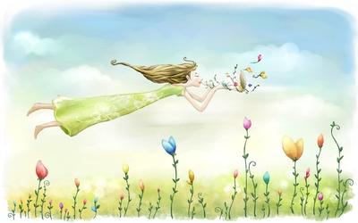 Girl flying through the flowers wallpaper