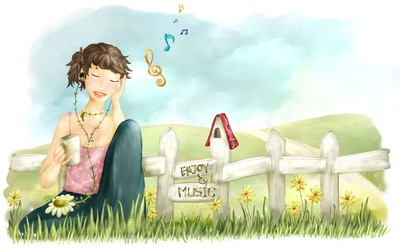 Girl listening to music wallpaper