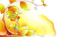 Girl using a leaf as an umbrella wallpaper 1920x1200 jpg