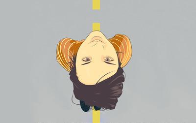 Girl walking on the road wallpaper