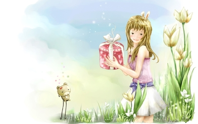 Girl with a present wallpaper