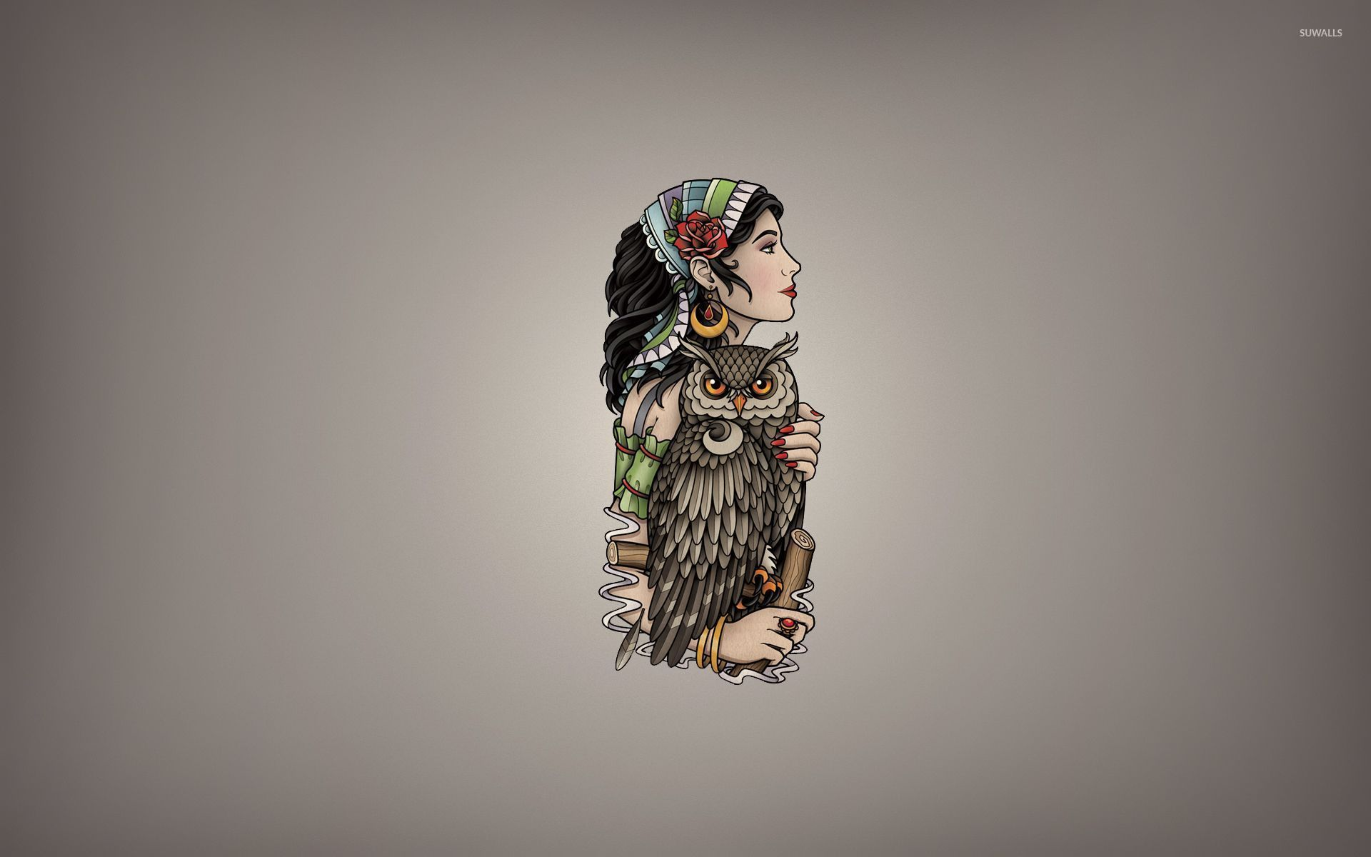 Girl with a scarf holding the owl wallpaper Vector wallpapers