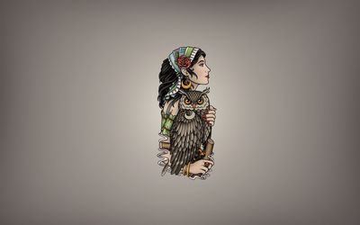 Girl with a scarf holding the owl wallpaper