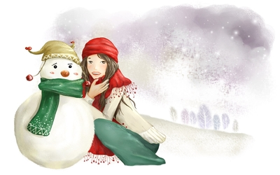 Girl with a snowman wallpaper