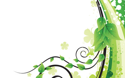 Green leaves, swirls and curves wallpaper
