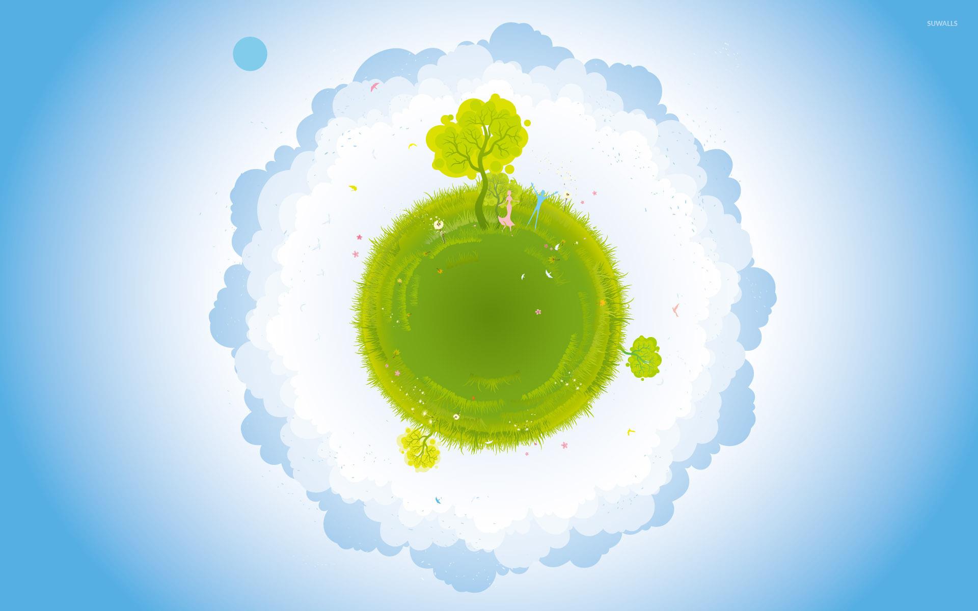 green planet wallpaper - vector wallpapers - #4890