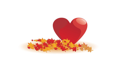 Heart among fallen leaves wallpaper