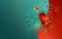 Heart, flowers and butterfly wallpaper 1920x1200 jpg
