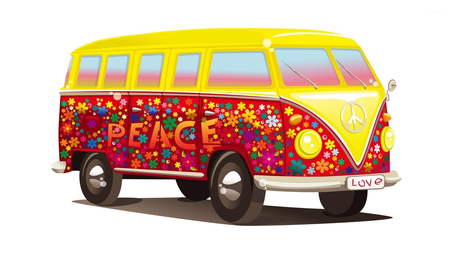 hippie volkswagen bus wallpaper vector wallpapers 15775. Black Bedroom Furniture Sets. Home Design Ideas