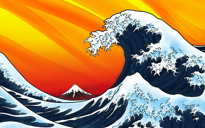 Japanese style waves wallpaper