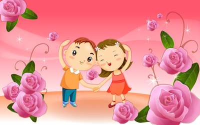 Kids in love wallpaper