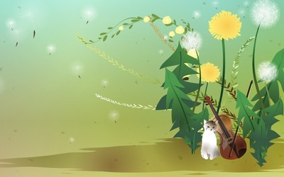 Kitten and violin among dandelions wallpaper
