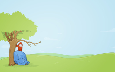 Little boy with his pet under a tree wallpaper