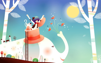 Magician riding an elephant wallpaper