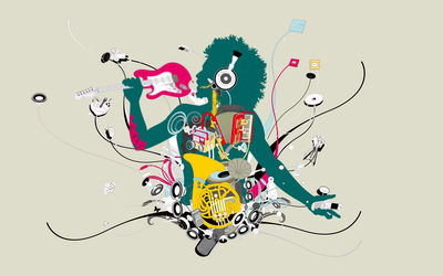 Man enjoying all kinds of musical instruments wallpaper