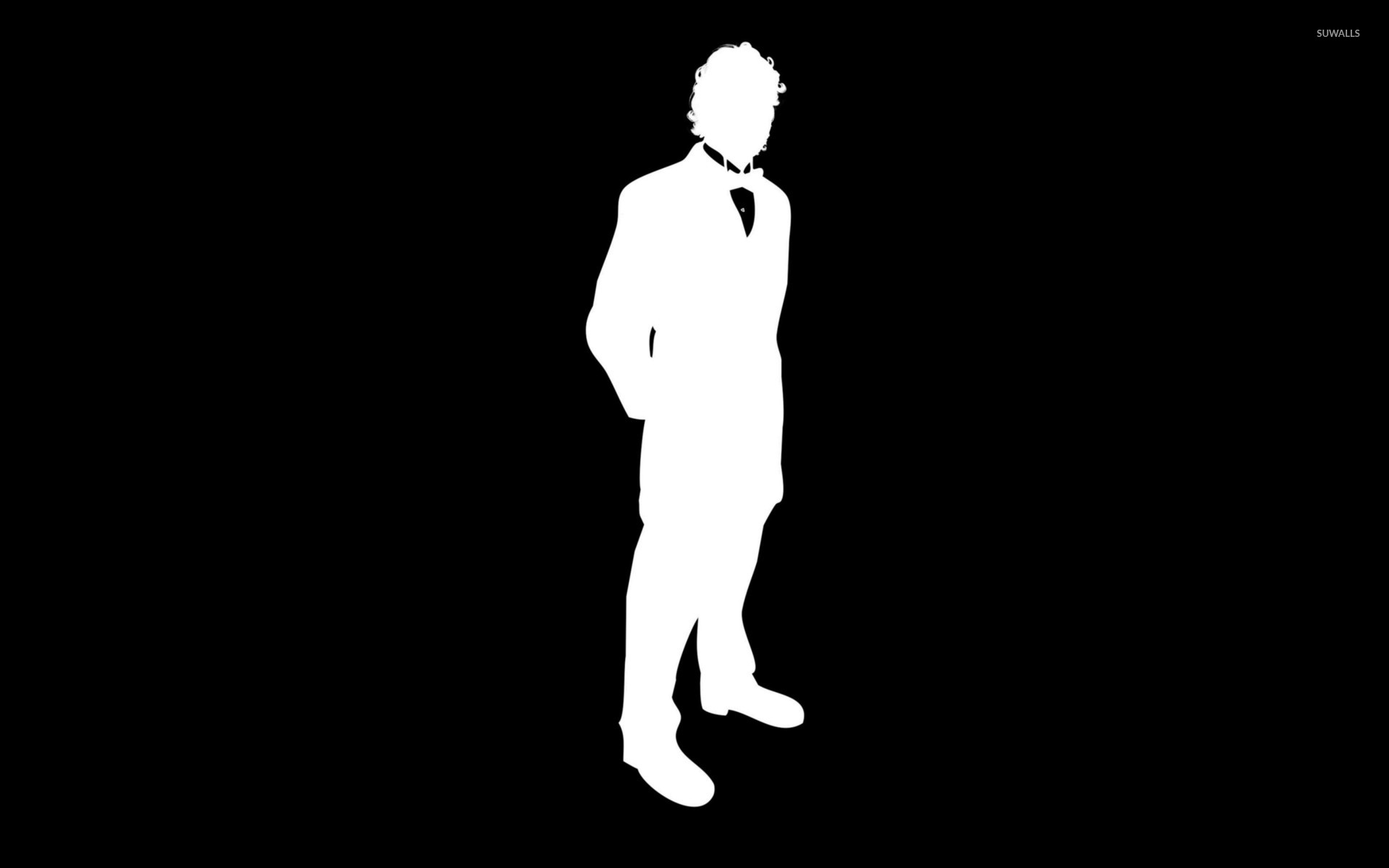 man in a suit with bow silhouette wallpaper vector