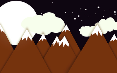 Snow on the mountain peaks at night wallpaper