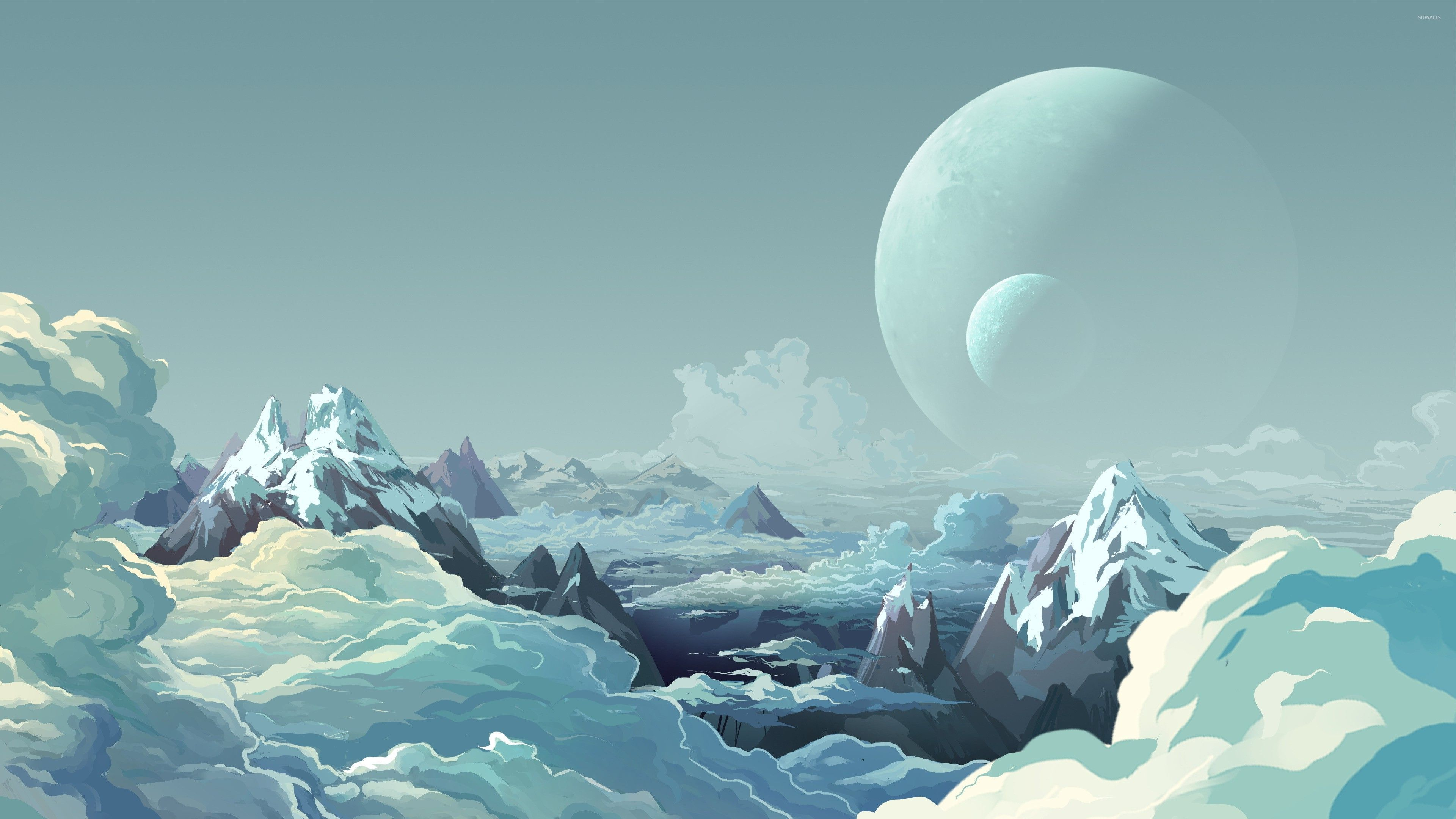 Mountain Peaks Above The Clouds And Moons In The Sky Wallpaper Vector Wallpapers 28034