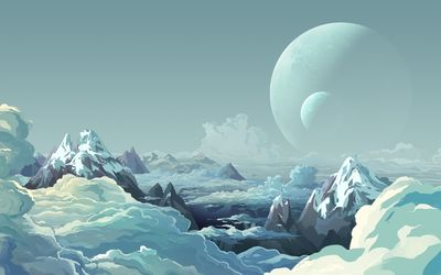 Mountain peaks above the clouds and moons in the sky wallpaper