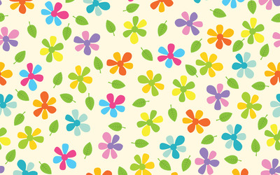 Multicolored daisies and leaves wallpaper