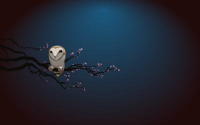 Owl on blossomed tree branch wallpaper