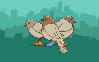 Pigeons with sneakers wallpaper