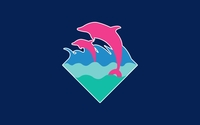 Pink dolphins swimming in the whirling waves wallpaper 1920x1080 jpg