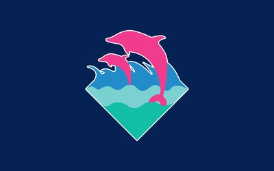 Pink dolphins swimming in the whirling waves wallpaper