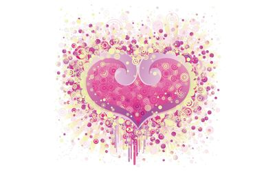 Pink heart made of circles wallpaper