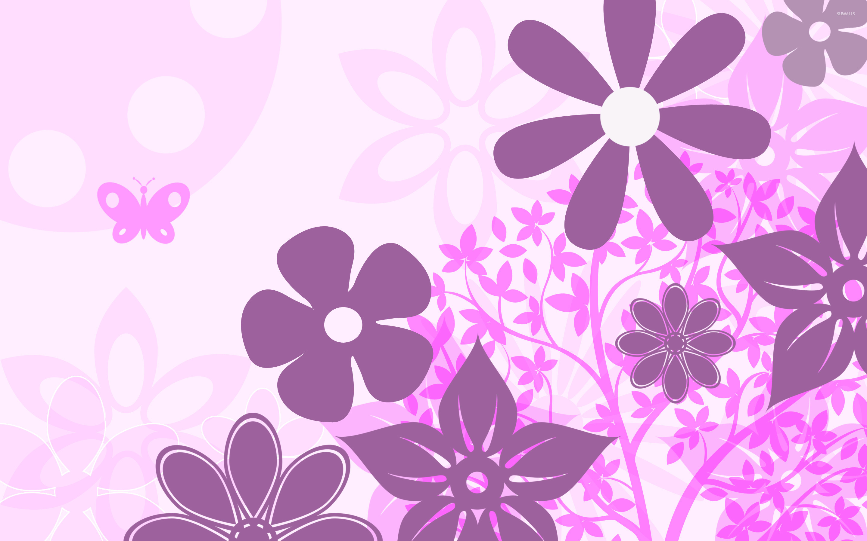 Purple Flowers Wallpaper Vector Wallpapers 21861