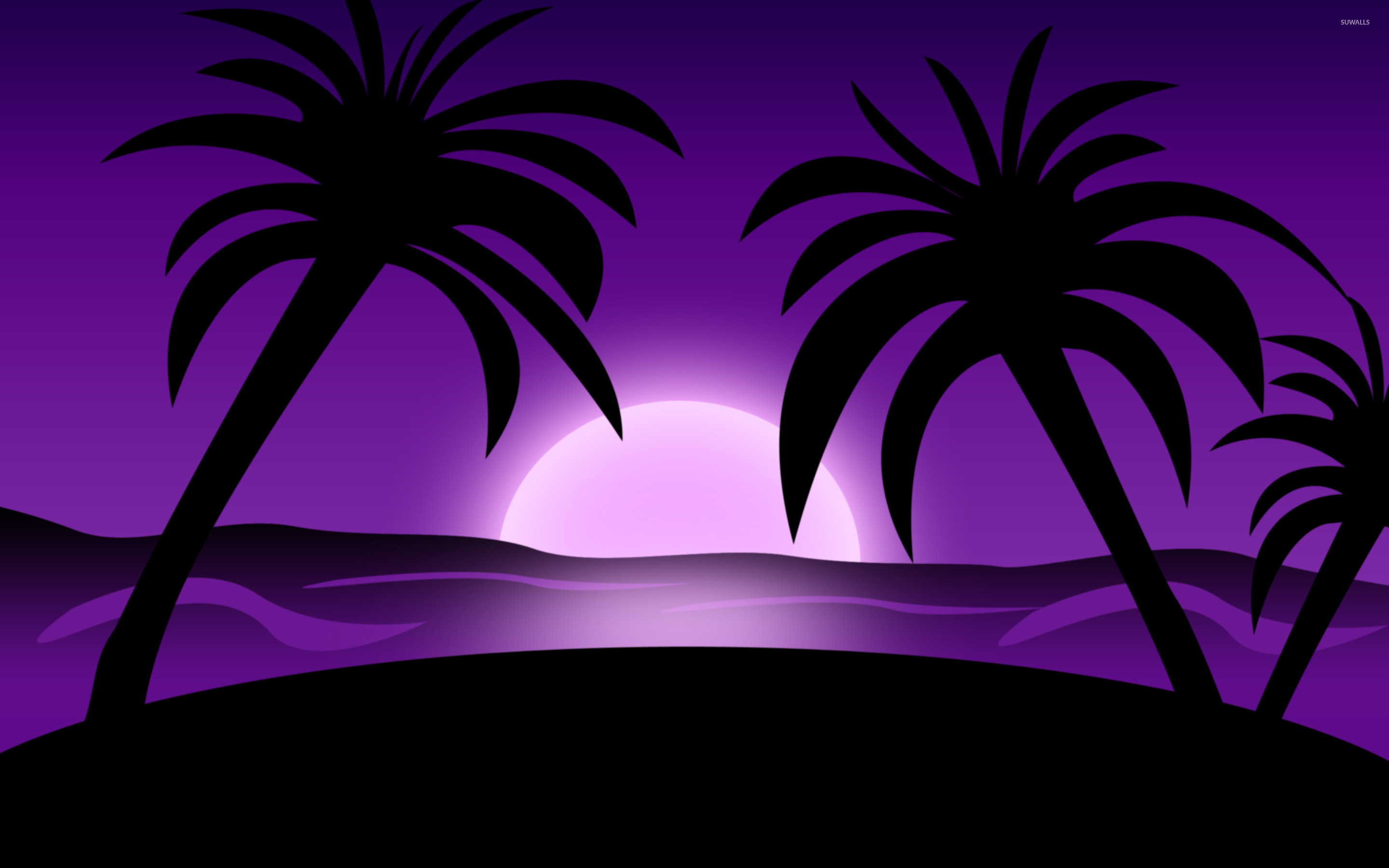 Purple Sunset On The Beach Wallpaper Vector Wallpapers 48435