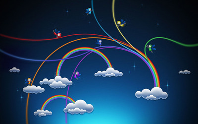 Rainbows over the clouds wallpaper