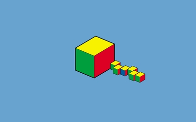 Red, yellow and green cubes wallpaper