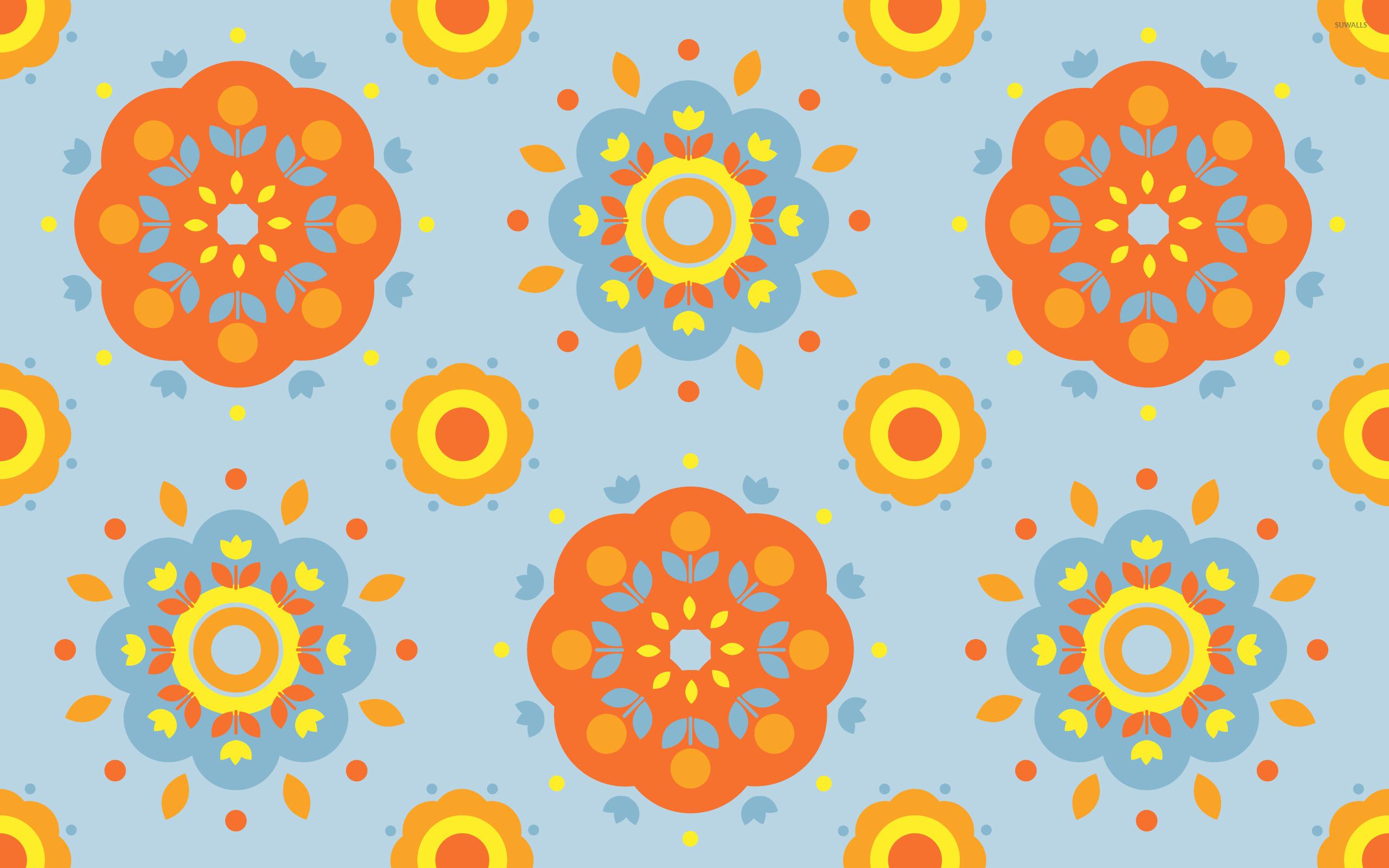 Retro flowers wallpaper - Vector wallpapers - #14365