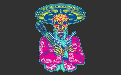 Skull with sombrero Wallpaper