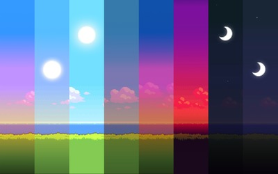 Slices of a day in 8 bit wallpaper