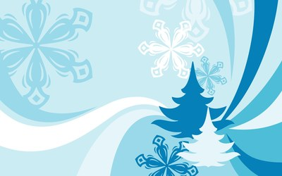 Snowflakes and fir trees wallpaper