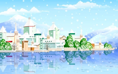 Snowy town on the riverside wallpaper