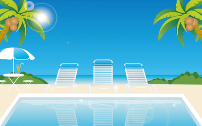 Sunny day at the beach wallpaper