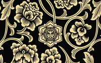 Tribal golden flowers on dark background wallpaper 2560x1440 jpg